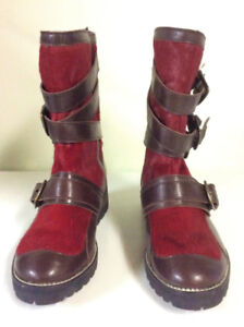 69d87f43c824 Christian Cota Aldo Red Pony Hair Leather Boots size7