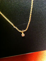 YELLOW GOLD CHAIN 14K. [marked 585] and Diamond Pendent