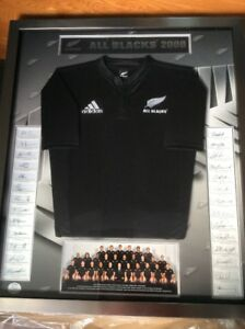 2008 New Zealand All Blacks Signed and Framed Rugby Jersey