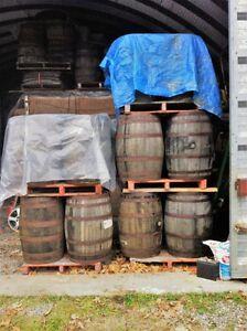 $120.00 Oak Whiskey Barrel, $70.00 Oak Planters $3-$10.00 Staves