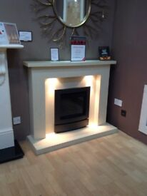 The Crieff 48 Coral Cream Micromarble Complete Fireplace