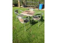 Table and 4 Garden chair set.