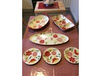 3 large Sorrento serving dishes with 3 matching side plates