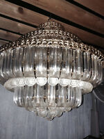 Crystal chandelier from a split level entry