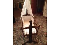 Baby dark wood cradle with curtain rail and curtains
