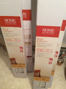 """New White Wood Window Blinds from Home Depot labelled 48"""" x 48"""""""