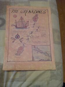 2 Reproduction de carte géographique vintage 1974-1976