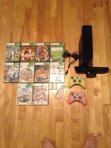 Xbox 360+2 manettes+ 350gbs+10 jeux+ fils+ 2 chargeurs manettes+