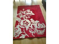 Large Red and White Flower Rug.