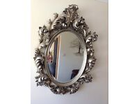 Renaissance/rococo style large wall mirror antique silver