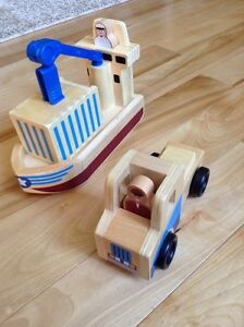 Melissa and Doug Cargo Ship and Truck Wooden Toy Set