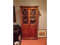 Yew bookcase / display cabinet