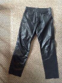 Men's 34W 32L genuine leather trousers