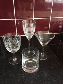 A Crystal Glass, a tumbler, wine & cocktail glass
