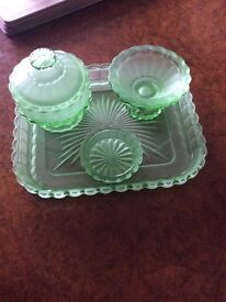 Antique Green Glass Dressing Table Set.