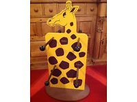 Wooden giraffe double sided display unit