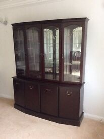 Full dining suite Mahogany table, sideboard, glass cupboard