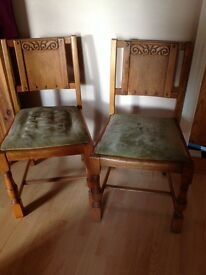 2 small carved wooden dining chairs (available separately)