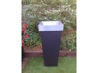 Zinc galvanised black planter H116cm