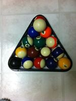 Pool balls set with triangle