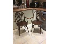 Wheelback carver chairs