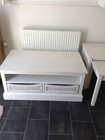 Next solid oak and wicker trunk and nest of tables **shabby chic project**