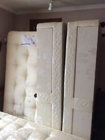 2x single divan beds and mattresses with headboards