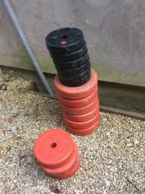 39.5kg of Plastic weights for standard bar