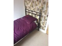 Complete single bed with metal frame