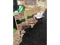 3 collapsable garden chairs