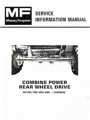 Massey Ferguson Mf-750 760 850 860 Combine Power Rear Wheel Service Manual