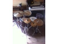 Yamaha stage custom drum kit w/ black panther snare & k custom ride and MORE