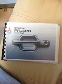 Mitsubishi pajero ownership manual