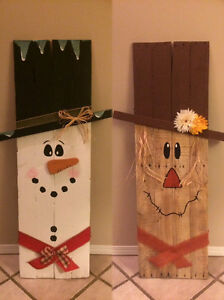 Hand made wood scarecrow/snowman