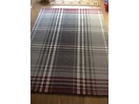 Large Next rug in grey and red check