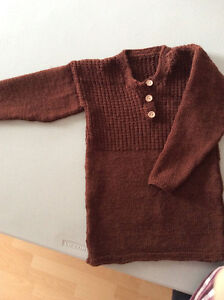 Hand knitted boy pullover front buttoned (4-6 years)