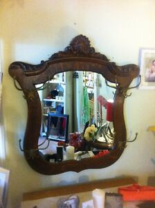 *NEW PRICE* Antique oak entrance mirror with large brass hookes