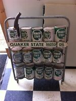 Quaker state oil rack and cans