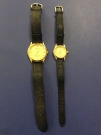 Ladies and Gents Black Strap watches by Sekonda