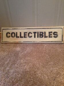 """Wooden """"Collectibles"""" sign"""
