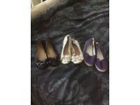 3 prs womans flat shoes