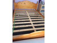 Solid pine bed frame in excl cond no mattress double bed size