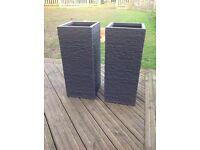 Set of 2 dark grey brick fibrecotta tall planters
