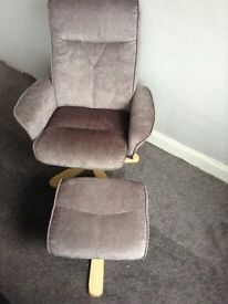 Brand New Designer Grey Swivel Chair and Footstool