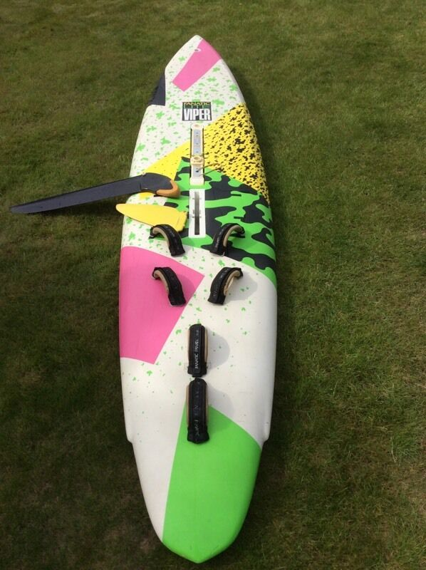 Windsurfing gear. Everything ready for the waterin Beccles, SuffolkGumtree - Windsurfing board fanatic viper, mast,clamp on boom two sizes,harness,mast,mast extension,UJ,mast cover. 3 x sails 4.6ART, 5.8ART and 7.2ART race Slalom