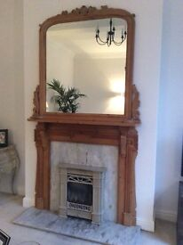 Wooden fire surround and matching overmantel mirror