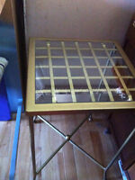 Small tall gold glass top table