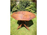 Garden hardwood octagonal table