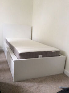 White Malm High Bed Frame & 2 Storage boxes