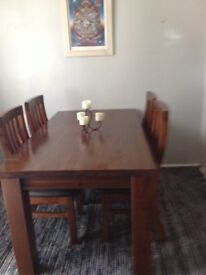 Beautiful Dark Pine Table with 4 Chairs